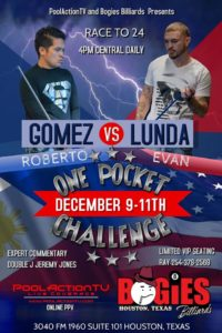 Gomez vs. Lunda, One Pocket, Race to 24
