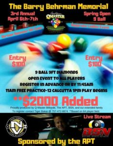 The Barry Behrman Memorial Spring Open 9-Ball